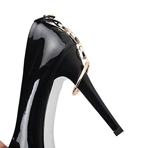 Nine Seven Cuero Plataforma Puntiagudos Tacones de Tacón Aguja de Vestir para Mujer negro