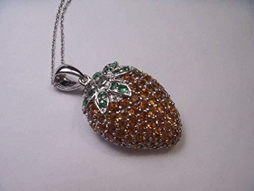 Gorgeous 14K White Gold Orange Citrine Tsavorite Strawberry Pendant ()