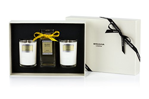 Bahoma Vitality Luxurious Gift Box with a 100 ml Bath Oil in a Glass Bottle Plus Two Travel Size Candles - 540 Candle