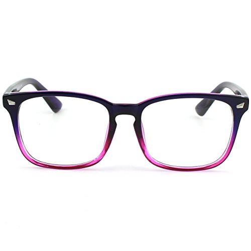 GQUEEN clair corne surdimensionné lunettes PE2 Grand cadre transparentes Purple FArgxSF