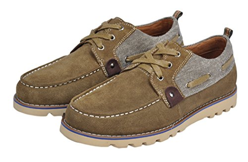 Serene Mens Round Wedge Canvas With Suede Fashion Sneakers(7.5 D(M)US, Tan)
