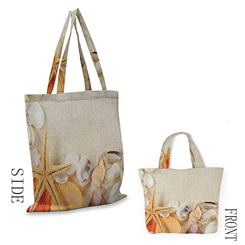 The single shoulder bag SeashellsGroup of Seashells Starfish on The Sand Romantic Travel Destination Nature Beige Ivory Cream18