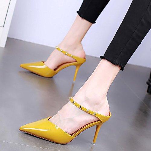 Semi KPHY Summer Wear 9Cm Baotou Sexy yellow Drag Slippers Heels Rivets Thin Slippers Heels Belt Women High Cool r5rwqCp