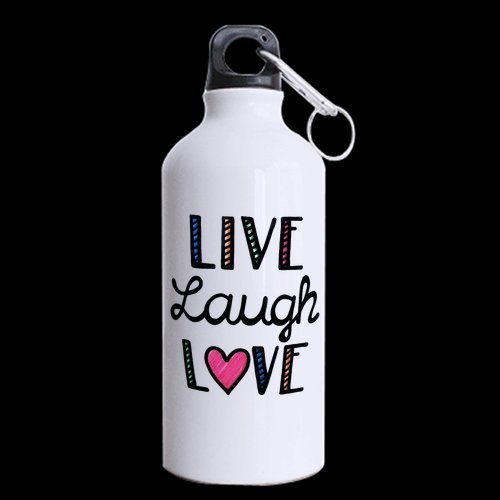 Funny Humorous Quotes Live Laugh Love Aluminum Sports Bottle, Sport Water Bottle, Sport Mug - 13.5 OZ - BPA Free, One-sided Printing