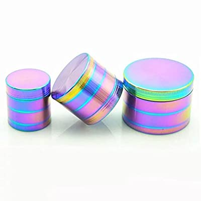 NIGHT-GRING Colourful 4 Layer Metal Zinc alloy Tobacco Grinder Spice Grinder Herb Grinder Rainbow Metal, Sifter and Pollen Scraper by NIGHT-GRING