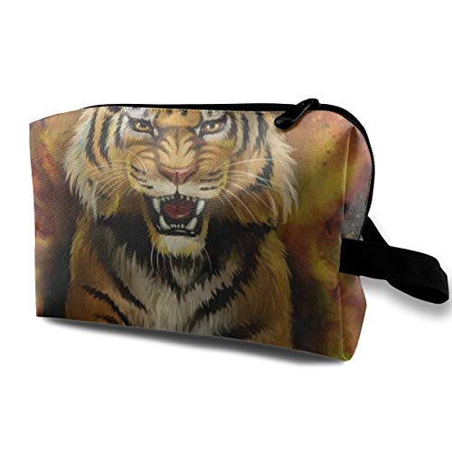 (Makeup Bag Tiger Print Animal Portable Travel Multifunction Clutch Pouch Bags Hot Storage For Women)