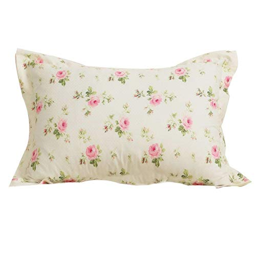 - FADFAY Farmhouse Shabby Pink Rosette Print Gold Rustic Pillow Shams 100% Cotton Duvet Cover Set Super Soft Hypoallergenic with Hidden Zipper Closure,2-Pieces Standard Size 20