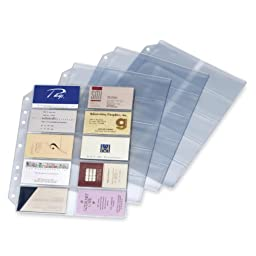 Cardinal Brands 7860000 Refill Pages, For Card File Binder, 200-Card Capacity, 10/PK, Clear