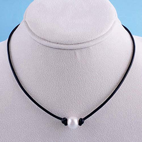 - Necklace Opeof Handmade Faux Leather Cord Women Faux Pearl Pendant Necklace Choker Jewelry