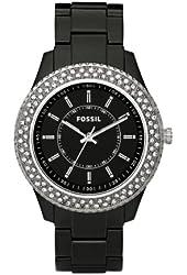 Fossil Women's ES2445 Black Resin Bracelet Black Glitz Analog Dial Watch