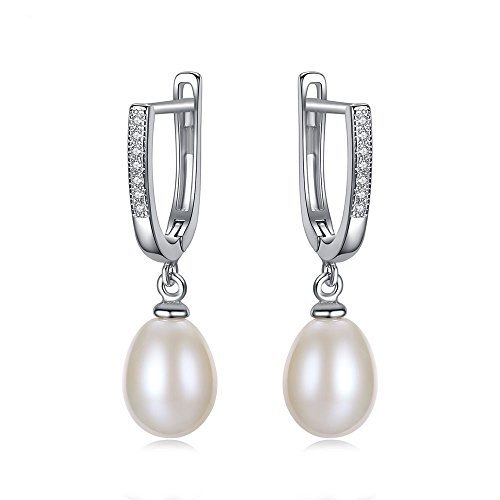 (BELLE & LILY S925 Sterling Silver Freshwater Cultured Pearl Leverback Earrings Zircon Wedding Gift for Mother's Day (EB-White))