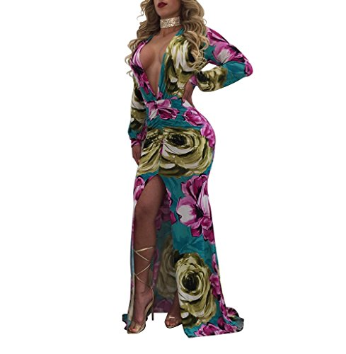 Sexycherry Women Deep V-Neck Elegant Long Sleeves Sexy Flower Floral Cocktail Maxi Party Dress (Medium, Floral Pink Blue)
