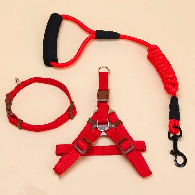 Red M Red M Dog Chest Back, Pet Braided Leash Dog Chain Chest Strap Pet Vest Chest Back Pet Leash Dogs for Men and Women Drawstring Chest Back Pet Supplies (color   Red, Size   M)