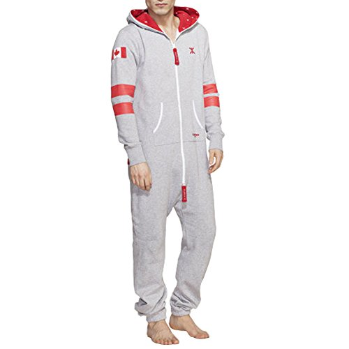 SkylineWears Men's Onesie Playsuit Jumpsuit one Piece non Footed Pajamas Canadian Flag Gray M