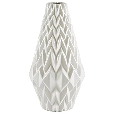 "Rivet Modern Geometric Pattern Decorative Stoneware Vase, Large Centerpiece, 12.25""H, White - Textured geometric patterns give this vase a modern, angular flair. The lovely milky white color with transparent glaze will go with any décor. Add flowers if you wish, but this vase can also stand alone as a decorative piece Neutral white with modern patterns allow it to blend with any room 100% stoneware with transparent glaze - vases, kitchen-dining-room-decor, kitchen-dining-room - 41KwBs5vCFL. SS400  -"