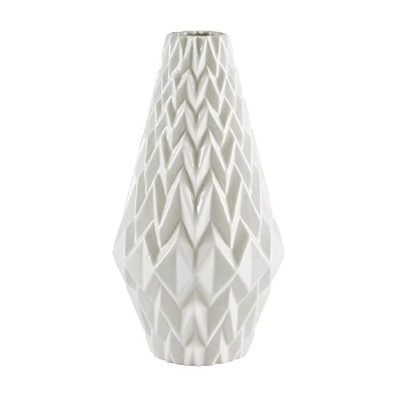 "Rivet Modern Geometric Pattern Decorative Stoneware Vase, Large Centerpiece, 12.25""H, White - Textured geometric patterns give this vase a modern, angular flair. The lovely milky white color with transparent glaze will go with any décor. Add flowers if you wish, but this vase can also stand alone as a decorative piece Neutral white with modern patterns allow it to blend with any room 100% stoneware with transparent glaze - vases, kitchen-dining-room-decor, kitchen-dining-room - 41KwBs5vCFL. SS570  -"