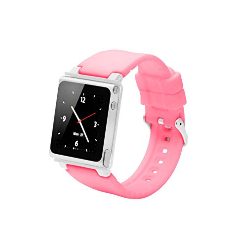 Sport Strap Smart Aluminum Metal Watch Band Wrist Kit Cover Case for Apple iPod Nano 6th Generation 8GB 16GB(Pink)
