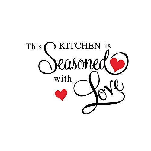 """Price comparison product image Fheaven DIY Wall Stickers Decor""""This Kitchen IS Seasoned with love"""" Wall Sticker Removable Art Home Decals (black)"""