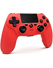 PS4 Controller Draadloos, Playstation 4 Controller Double Shock Joystick met Thumb Grips, Audiofunctie, LED Indicator High Performance Gamepad voor PS4 / Pro / Slim / PC (Rood)