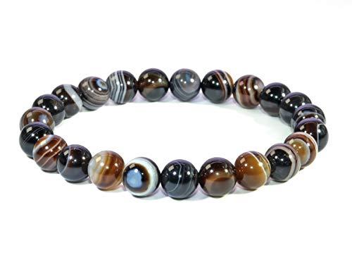 (Jan Dee Natural Semi-Precious Gemstone Healing Power Sardonyx Agate Crystal Bracelet 10mm)