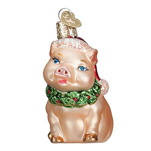 Pig Glass Blown (Old World Christmas Ornaments: Holly Pig Glass Blown Ornaments for Christmas Tree)