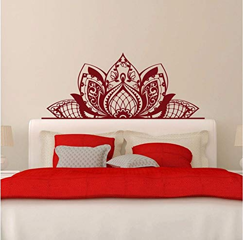 liubeiniubi Wall Decal Mandala Decorate The Beds Wall Vinyl Sticker Lotus Boho Poster Bedroom Bohemia India Bohemia Yaga Wall Decor ()
