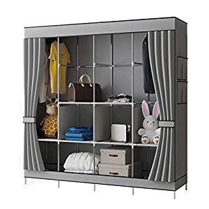 YAYI Canvas Wardrobe Portable Wardrobe Shelves Clothes Storage Organiser With 4 Hanging Rail,Grey