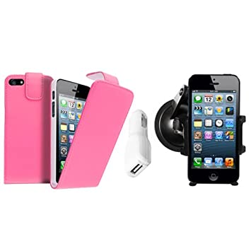 big sale 925b3 f97f2 BABY PINK LEATHER FLIP CASE + CAR PHONE HOLDER + CAR: Amazon.co.uk ...