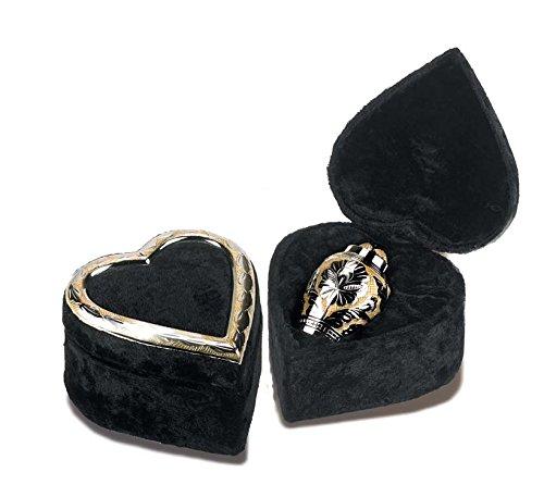Elegante Beautifully Crafted Renaissance Silver Gold Keepsake with Elegant Heart-Shaped Silver Gold Border Trim Velvet Case