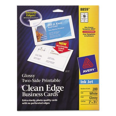 2 Chase Card (Two-Sided Clean Edge Business Cards, Inkjet, 2 x 3 1/2, Glossy White, 200/Pack, Sold as 200 Each)