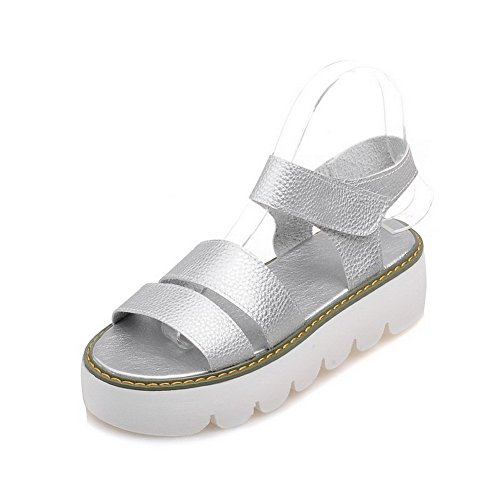 AmoonyFashion Womens Hook and Loop Kitten Heels Pu Solid Open Toe Sandals Silver d8vlX