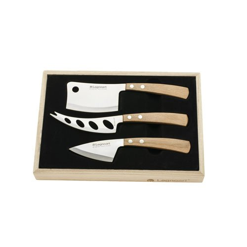 Legnoart LA-CK-10B Latte Vivo Cheese Set with Light Wood Handle in Wooden Crate, Light Brown