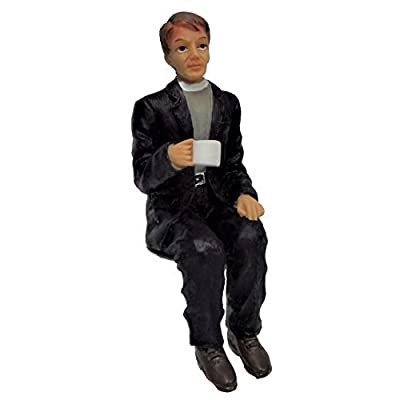 Melody Jane Dollhouse Clergyman Minister Sitting Cup Tea Resin People: Toys & Games
