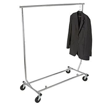 econoco heavy duty collapsible clothing rack round tubing rolling rack