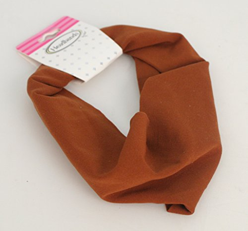 Mia Super Soft Stretchy Elastic Cloth Headband Made In Italy, Beautiful, Pretty Solid Rust Brown, 4 Inches Wide, For Women and Girls 1 pc