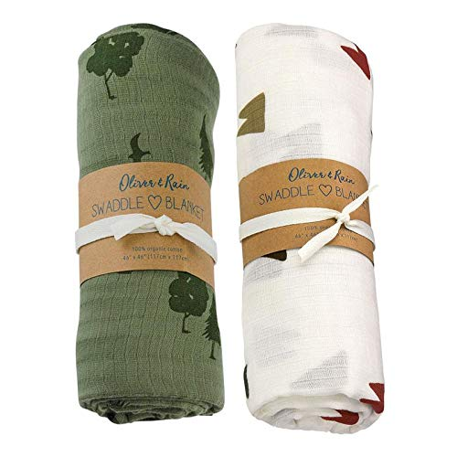 Oliver & Rain Baby Swaddle Sampler - 2-Pack Newborn 100% Organic Cotton Muslin Swaddle Blankets in Green Forest and Ivory Mountain Print