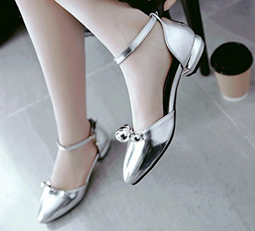Aisun Moda Donna Con Perline Abito A Punta Chiusa Fibbia Dorsale Sandali Con Tacco Basso E Cinturini Alla Caviglia Argento