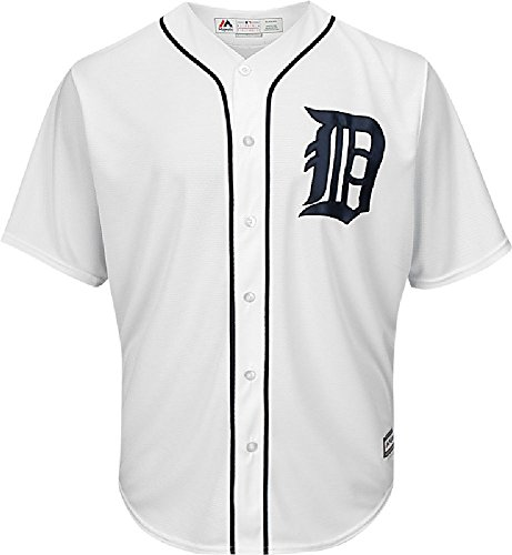 Majestic Detroit Tigers Cool Base White Tackle Twill Baseball Jersey (Small)