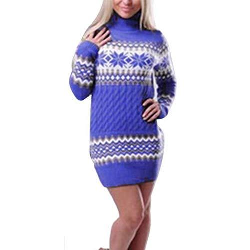 CUCUHAM Women's Christmas Snowflake Printed Long Sleeve Turtleneck Sweater Dress (Blue,X-Large)