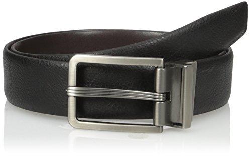 Van Heusen Men's Leather Gunmetal Reversible Belt, Black, 36