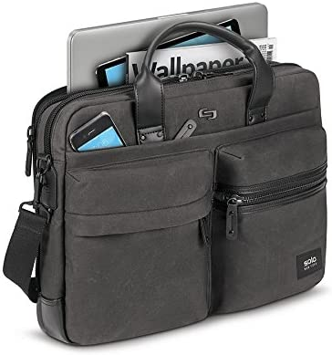 488 Solo Premium Leather 16 Laptop Attach/é Black Hard-Sided with Combination Locks
