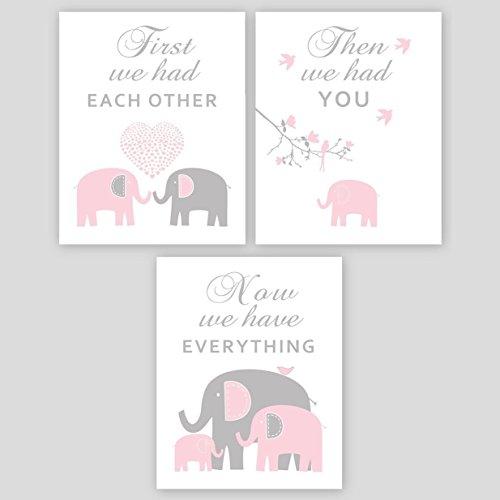 Baby Girl Nursery Wall Art - Pink and Gray Elephant Nursery Decor, PHOTO PRINTS or CANVAS - Playroom decoration SET OF 3 ()