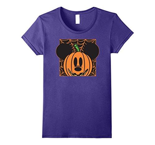 Womens Disney Mickey Mouse Pumpkin Web Halloween T Shirt Medium Purple -