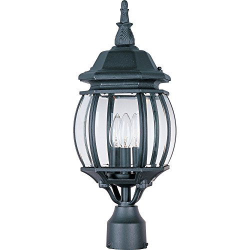 - Maxim 1035BK Crown Hill 3-Light Outdoor Pole/Post Lantern, Black Finish, Clear Glass, CA Incandescent Incandescent Bulb , 60W Max., Dry Safety Rating, Standard Dimmable, Fabric Shade Material, Rated Lumens