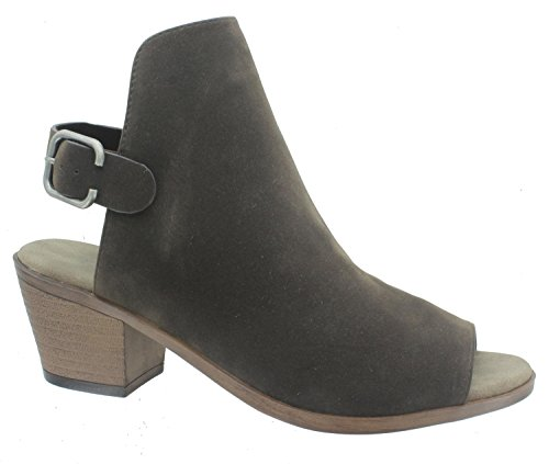 Pierre Dumas Sorrento-4 Women's Open Back Buckle Peep Toe Chunky Heel Bootie Sandals,Brown-Nubuck, 9M