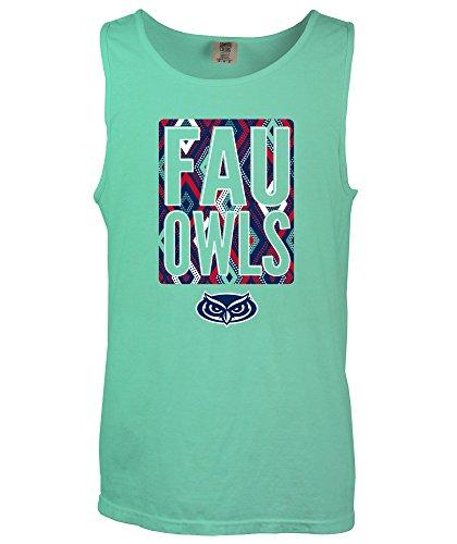 NCAA Florida Atlantic Owls Block Pattern Comfort Color Tank Top, X-Large,IslandReef