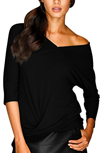 3/4 Sleeve V-neck Knot (Women's V Neck Raglan 3/4 Sleeve Knot Front Summer T shirt Black Size XL)