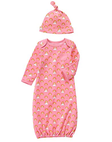 Gymboree Baby Infant Hat and Gown Layette Set, Baby Flamingo, 0-3 Months