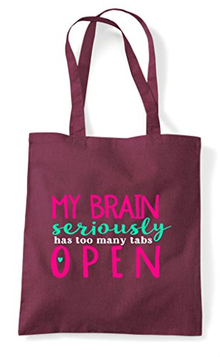 My Open Seriously Tabs Has Tote Burgundy Bag Brain Too Many Shopper ffqFrW