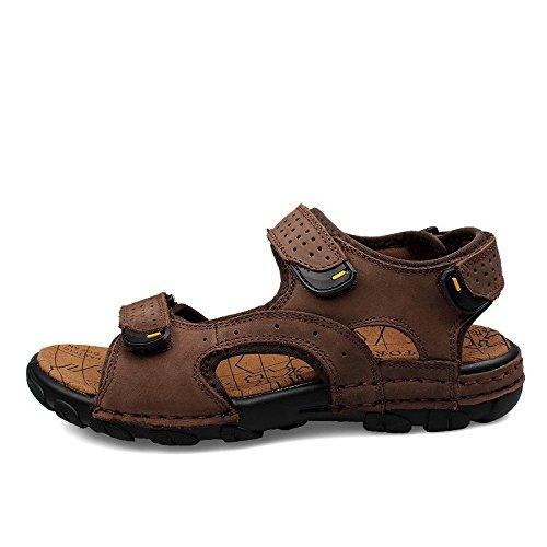 Xing Lin Sandalias De Verano Los Hombres Sandalias _ Verano Nuevo Sandalias De Cuero Sandalias Planas Casual De Hombres De Gran Tamaño dark brown